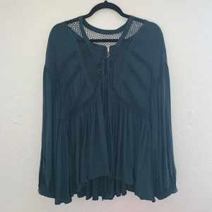 free people dark green lace up blouse size large
